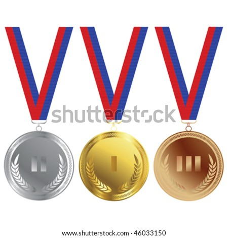Three medals in gold, silver and bronze for the Olympics - stock vector