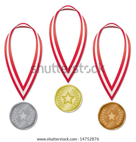 Three medals in gold, silver, and bronze with red and white ribbons; perfect for Olympic projects! (Blends used.) - stock vector