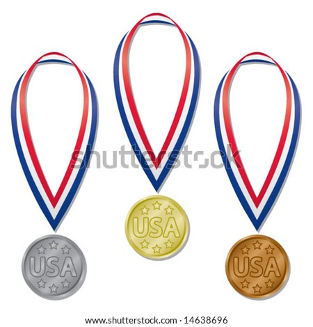 Three medals in gold, silver, and bronze with red, white, and blue ribbons - stock vector