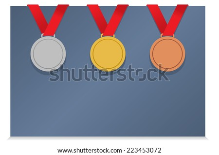 Three Medals On Blank Card vector illustration - stock vector