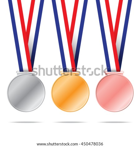 Three medals on white background for sport games vector illustration.
