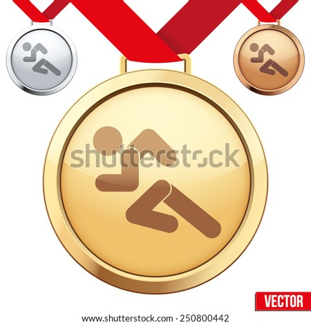 Three Medals with the symbol of running people inside. Gold, Silver and Bronze. Vector Illustration isolated on white background. - stock vector
