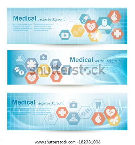 Three medical banners with flat icons. Vector.  - stock vector