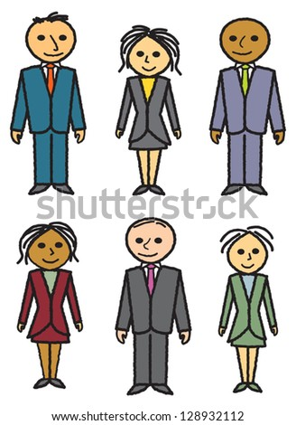 Three men and three women dressed in suits and business attire. - stock vector