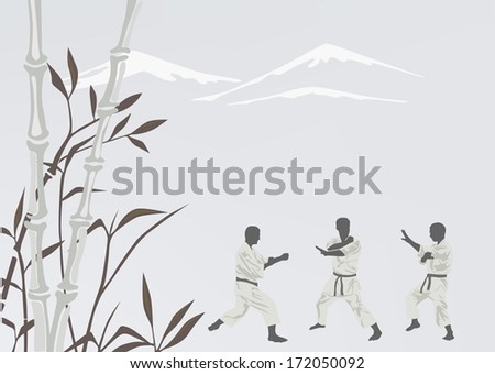 Three men are engaged in karate - stock vector