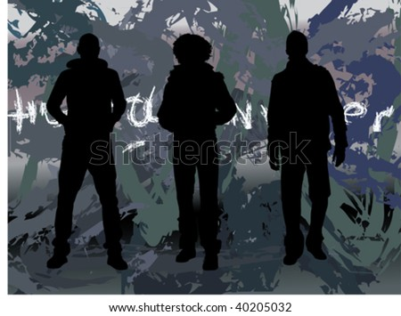 three men in a row showing off ,silhouette,casual dressed - stock vector