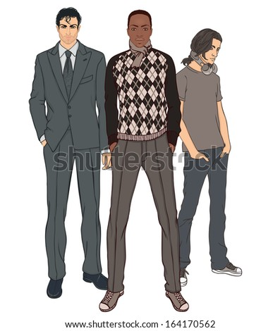 Three men of different ages and different races vector illustration set  - stock vector