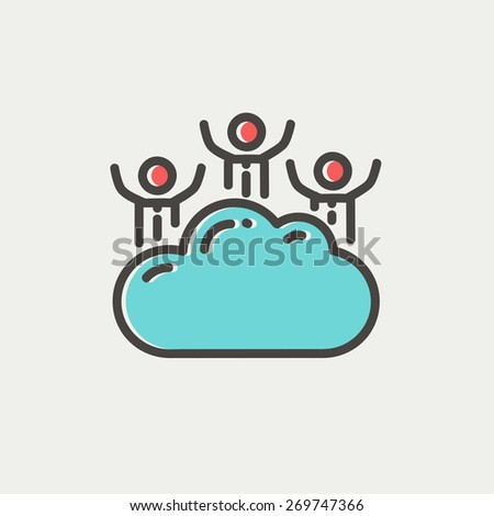Three men on a cloud icon thin line for web and mobile, modern minimalistic flat design. Vector icon with dark grey outline and offset colour on light grey background. - stock vector