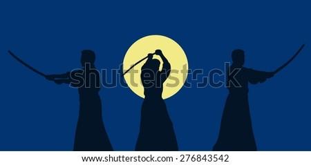 Three men show aikido against a dark background. - stock vector