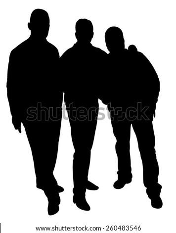 three men silhouette vector - stock vector