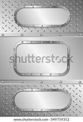 three metal banners on metal texture - stock vector