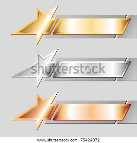 three metal emblems of stylized star on gray background - stock vector