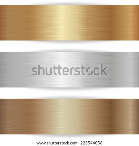 three metallic banners on white background - stock vector