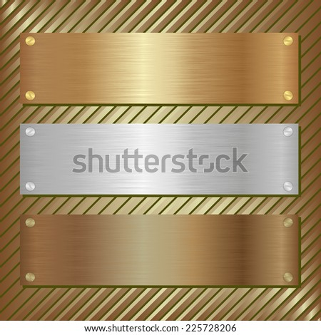 three metallic plate  - stock vector