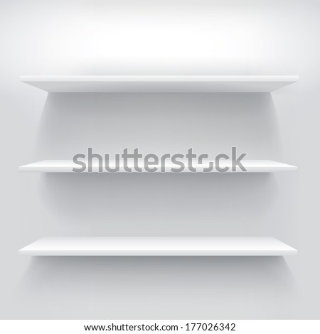 Three minimalist white shelves composition - stock vector