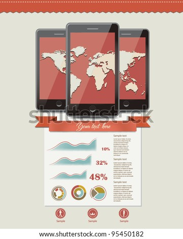 Three mobile phones with world map.Info graphic elements - stock vector