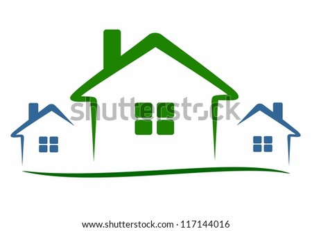 three modern houses - stock vector