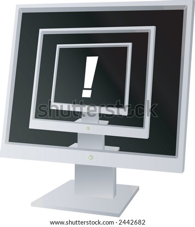 Three monitors with a exclamation in the middle - stock vector