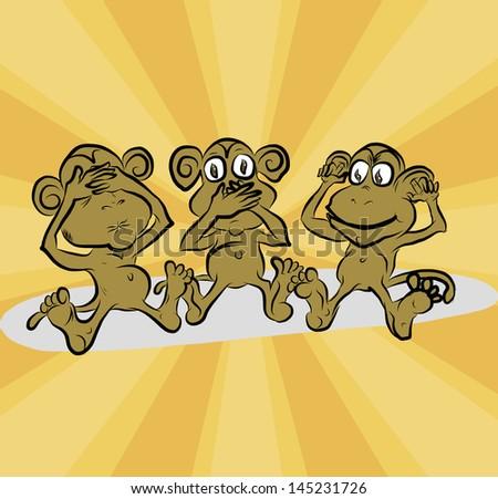 three monkeys: do not see anything, do not tell, do not hear - stock vector