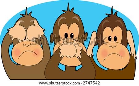 Three monkeys - see,speak,hear no evil - stock vector
