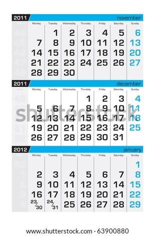 Three-month calendar,december 2011 - stock vector