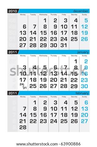 Three-month calendar,january 2011 - stock vector