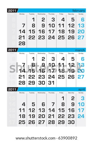 Three-month calendar,march 2011 - stock vector