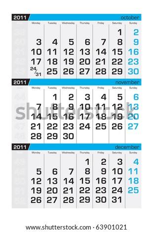 Three-month calendar,november 2011 - stock vector