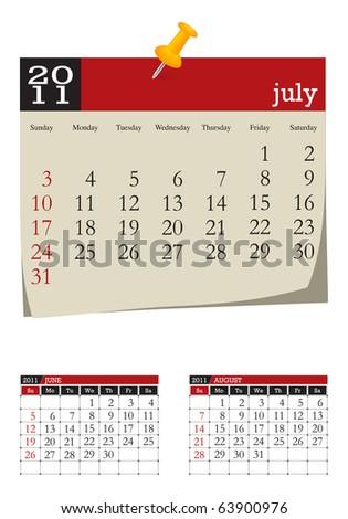 three-month desk calendar,july 2011 - stock vector