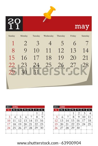 three-month desk calendar,may 2011 - stock vector