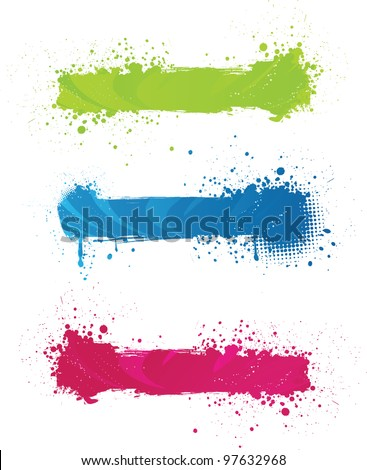 Three multicolored grunge banners with wave design - stock vector