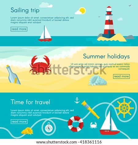 Three nautical horizontal banner set with description of sailing trip summer holidays and time for travel vector illustration - stock vector