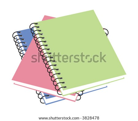 Three notebooks. vector illustration available - stock vector
