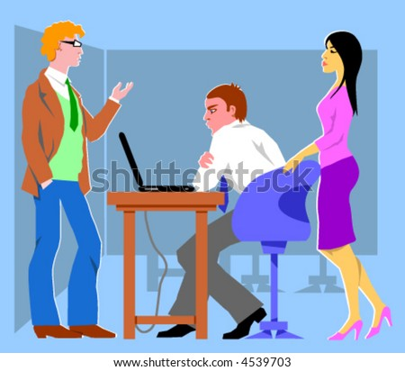 Three office workers. Vector Illustration. - stock vector