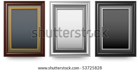 Three old antique frame on white background, vector illustration - stock vector