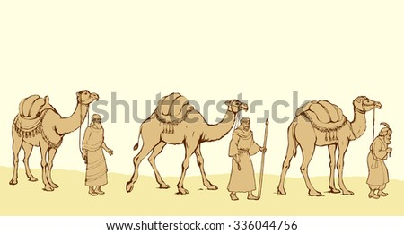 Three old orient Magi following east comet leading to new born holy baby Jesus Christ in Bethlehem present gifts gold, frankincense and myrrh. Vector ink drawn sketch backdrop card with space for text - stock vector