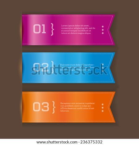 Three options - vector ribbon banner. - stock vector
