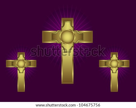 Three ornate gold crosses on a purple background with highlighted rays - stock vector