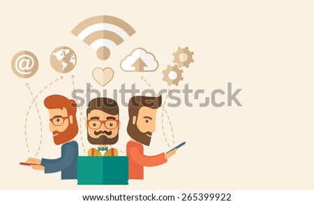 Three outstanding hipster Caucasian employees with beard discussing and sharing brilliant ideas, gathering information, preparing for their marketing plan presentation using their tablets - stock vector
