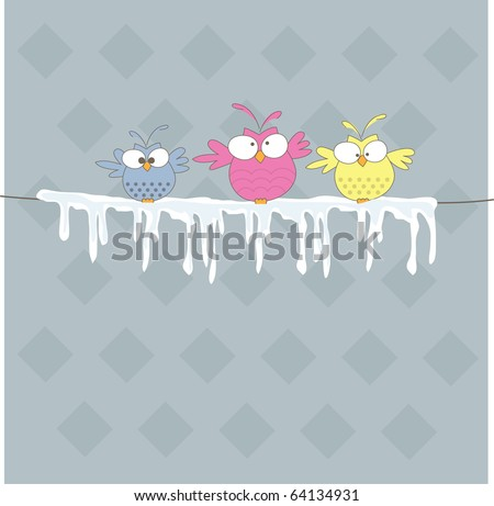 Three owl on the rope. Vector illustration - stock vector