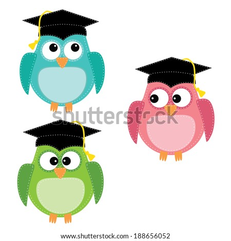 Three owls with graduation caps, for scrapbooking, vector format on transparent background. - stock vector