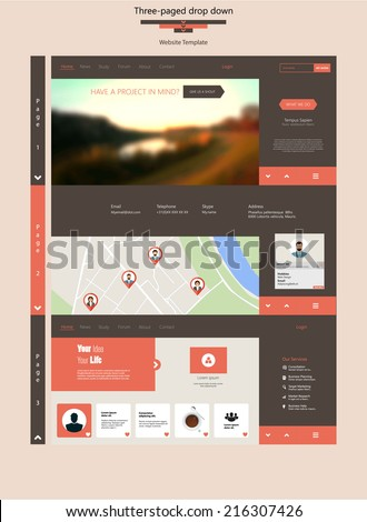 Three Page Drop Down Flat Website Template