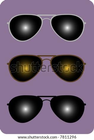 Three pairs of trendy aviator sunglasses. - stock vector