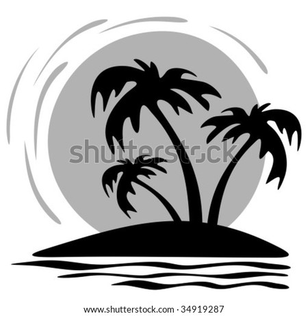 silhouette palm trees on beach fish stock vector 13890946