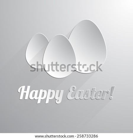Three paper happy easter eggs. Vector illustration. - stock vector