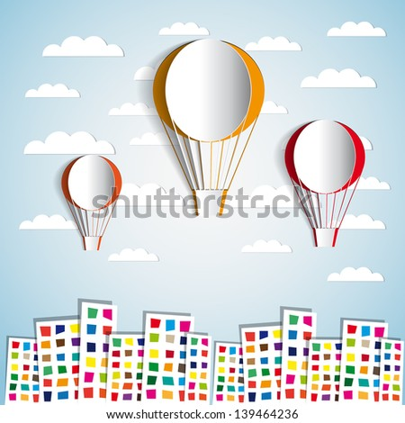 Three Paper Hot air balloons over the city - vector illustration - greeting card - stock vector