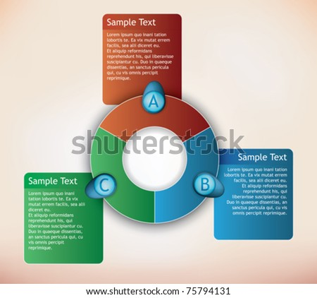 three parts presentation diagram with place for description for each item - stock vector