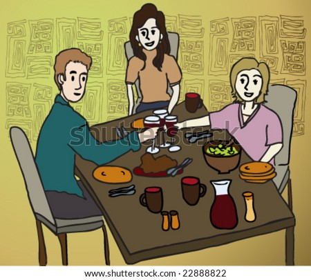Image result for a cartoon picture of three people eating supper