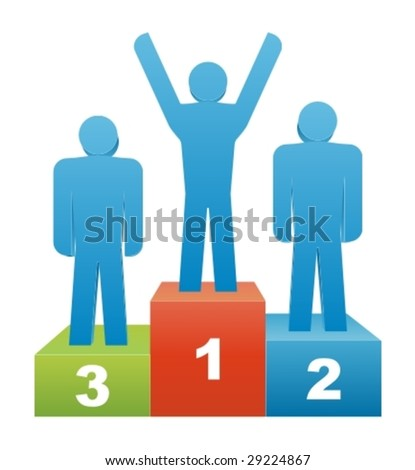 Three people in the winners podium. Second Place. First Place. Third Place - stock vector