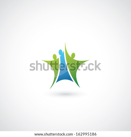 Three people symbol in form of the star - vector illustration - stock vector